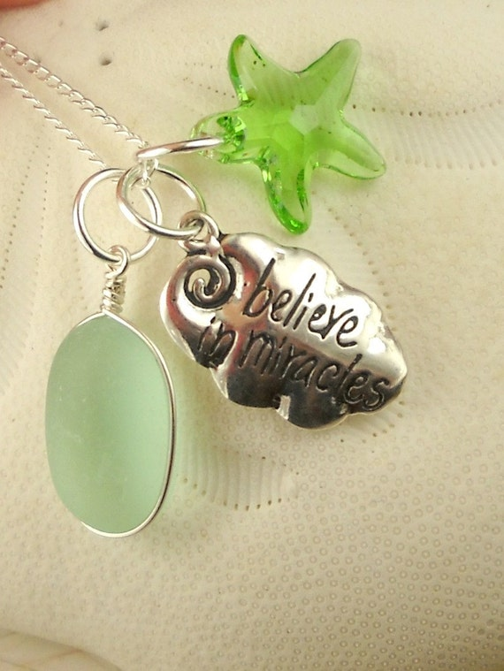 GENUINE Sea Glass Necklace Believe In Miracles
