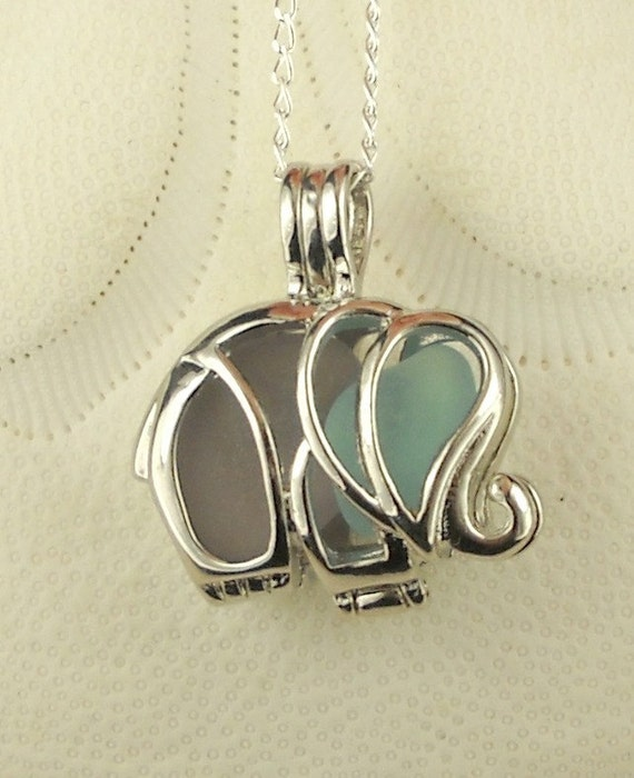 GENUINE Sea Glass Necklace Elephant Locket  Amethyst And Aqua