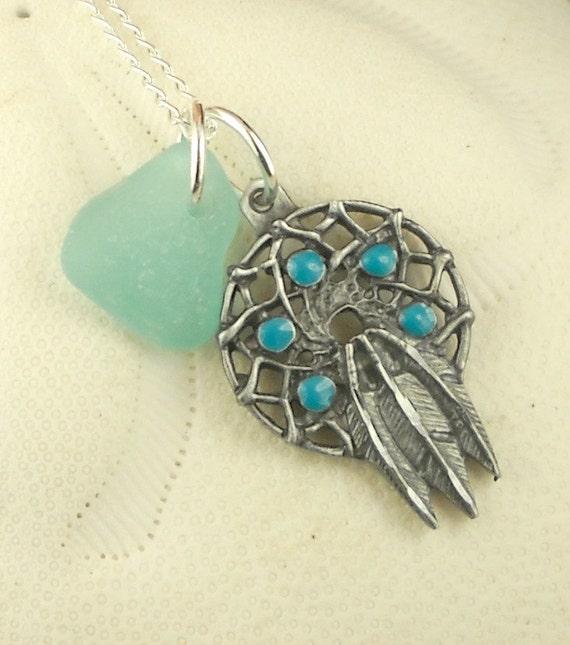 GENUINE Sea Glass Necklace Aqua Dream Catcher