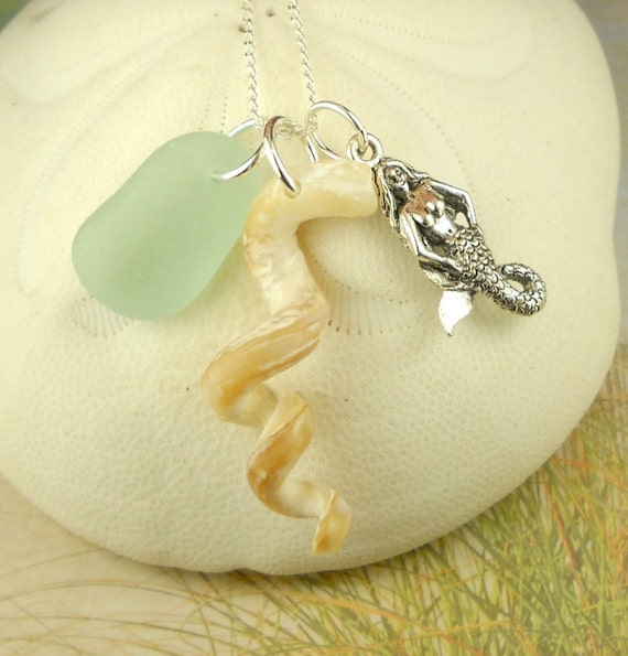 GENUINE Sea Glass Necklace Curly Shell And Mermaid