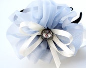 Gorgeous Big Ice Blue Flower,ivory Ribbon and Rhinestone Placed on Headband ,Great for Girl & Adult