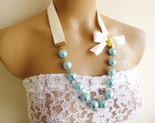 Blue Pearls Long Necklace In 2 cm.lvory Satin Ribbon for Bridesmaids or Special Days
