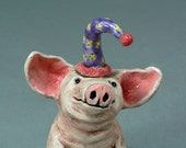 PIGNOLIA, the Party Animal Pig -    A Whimsical Clay Animal Sculpture