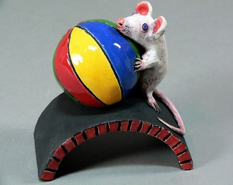 MORTY, the Adventurous Mouse -  Original Ceramic Mouse Sculpture