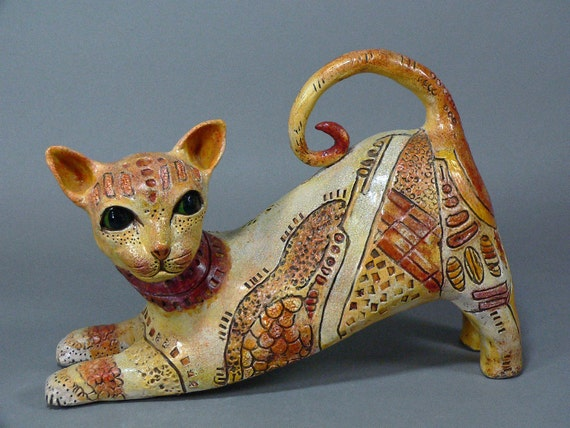 Ceramic Cat Sculpture - CLEO - She is Obviously a LEO
