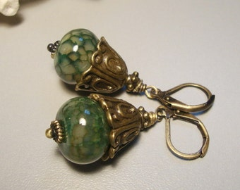 Green Fire Agate Earrings