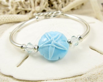 Cape Cod Bracelet Handmade Sand Dollar Lampwork Glass  Aqua