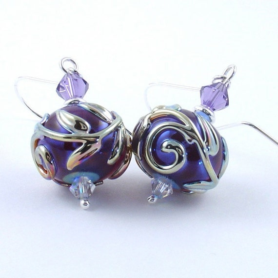 Silvered Violet and Crystal Earrings