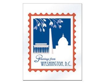 Washington DC notecard, DC everyday card,  dc greeting card, Washington dc graphic design, Loose Petals Print, Dc Stamp - style S-JDC1