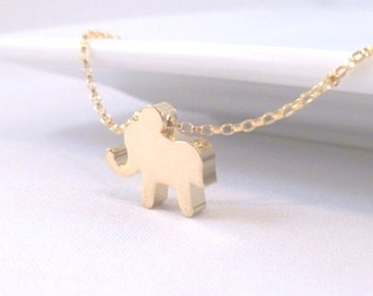 Baby elephant necklace - small simple gold charm slider on delicate 14K gold filled rolo / rollo chain - Horton pendant