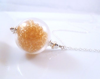 Glass Ball Necklace - orange filled hollow globe ball pendant on a simple silver plated cable link chain - Fizzy Pop by Constant Baubling