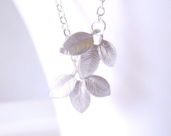 Silver leaf necklace on delicate silver chain - small textured matte silver leaves pendants -  for simple minimalist wear
