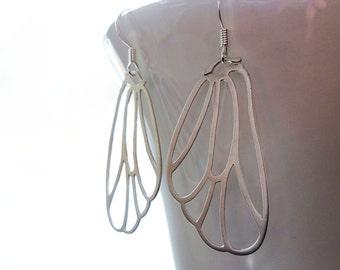 Butterfly Wing Earrings - large delicate lightweight filigree outline earrings in matte silver or gold - Fairy Flutter Fly