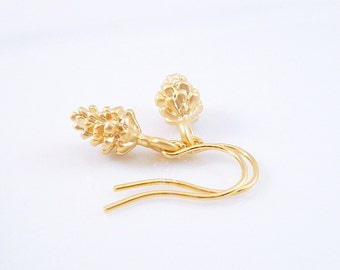 Gold Pinecone Earrings - little gold mini autumn harvest pine cone on tiny simple hook ear wire - dainty minimalist small nature lover gift