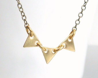 Small triangle necklace - gold tiny vintage raw brass bunting on antique brass / bronze delicate chain - Geometric Pennant Flag