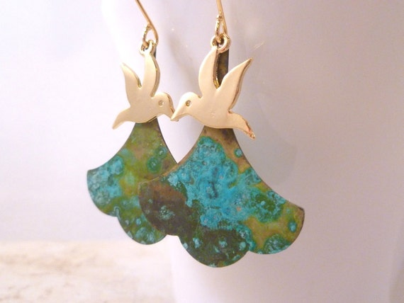 Gold Hummingbird Earrings - large brass verdigris patina scalloped ginkgo leaf and small gold bird on gold plated ear hooks