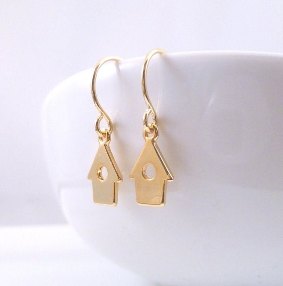 Tiny Birdhouse Earrings - little delicate miniature bird house on a small simple ear hook - Choose GOLD or SILVER