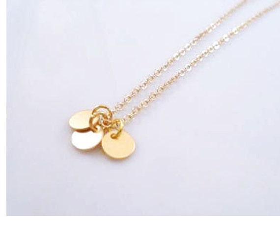 Gold disc necklace - a tiny simple trio of flat round blank disks on a delicate gold plated chain - minimalist simple plain circles