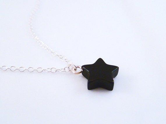 Black star necklace - minimalist simple black onyx stone pendant on delicate 18 inch silver plated chain - After Midnight