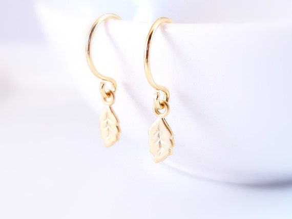 Tiny gold leaf earrings - super mini shiny gold plated leaves on little gold plated ear hooks - minimalist simple style