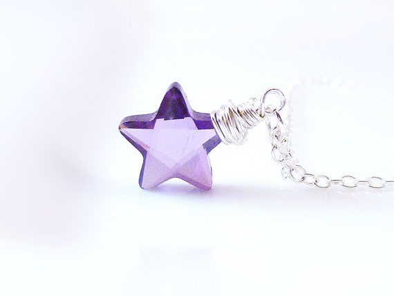 Purple Star Necklace - wire wrapped facet cut amethyst color CZ charm on delicate silver chain - Twinkle Little Star