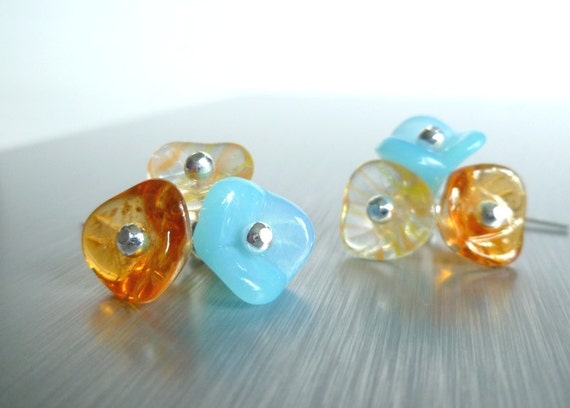 Wild Flower earrings - .925 sterling silver and little trio in aqua / turquoise blue and yellow / orange - Ocean Sunset