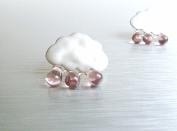 Silver rain cloud earrings in matte finish with .925 sterling silver posts and pale purple glass rain drops - Purple Rain studs