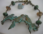 Falling For You -FREE SHIPPING Fall bracelet with birds on a branch and glass picasso beads