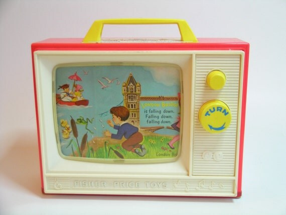 Vintage 1964 Fisher Price Two Tune 114 Giant Screen Music Box TV