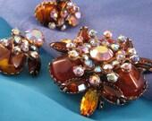 Huge JUDY LEE Amber AB Rhinestone Brooch and Earring Set, Vintage Demi Parure