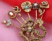 Vintage GOLDETTE Figural Rhinestone Brooch Pin