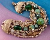 Vintage Multi Strand Green Beaded Bracelet by ART