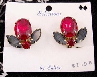 Huge Red and Black Rhinestone Earrings on Original Card, NOS