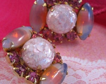 Vintage Rhinestone Earrings with Pink Confetti and Striped Glass