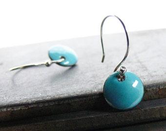Handmade Enamel Earrings - Sapphire Turquoise Blue Sterling Silver Dangle Earrings