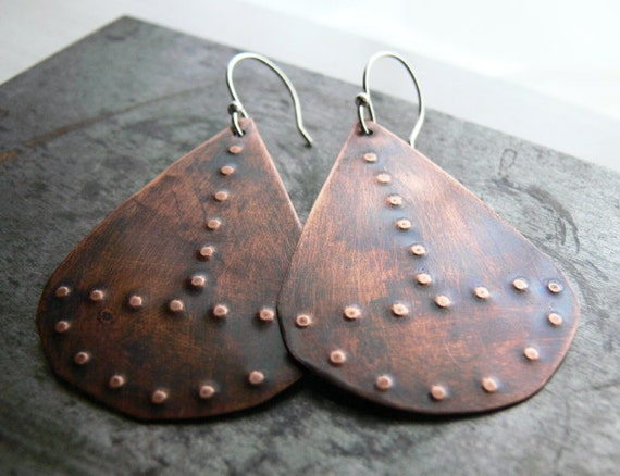 Copper Earrings - Sterling Silver, Mixed Metals, Modern Large Copper Jewelry