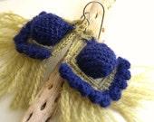 Exotic Yellow Blue Crochet Earrings - Original Lace Earrings - Bohemian Shabby Chic - Peacock Fringes Earrings - High Fashion