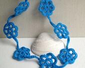 Turquoise Blue Flower Necklace - Bridesmaid Turquoise Blue necklace - Lace trend Necklace 2014 - Boho chic - Unique Necklace
