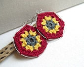 Crochet Earrings - Granny Hexagon - Red Yellow Gray colorful earrings - Lacy trends Earrings - Retro Style Lace Fashion Jewelry