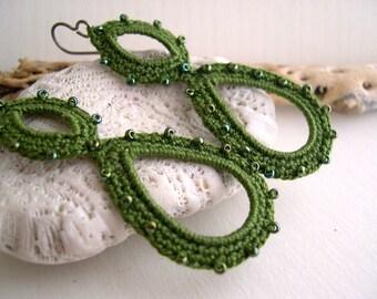 Olive green crochet earrings - dark green earrings - Long dangle earrings - Lace Fashion - Handmade - lightweight dangle earrings