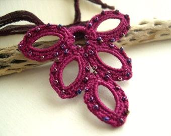 Boho Chic Fuchsia Charm Necklace - Valentine's day Gift - Silk Ribbon - Pink Crochet Pendant - Fuchsia Bridesmaid Necklace