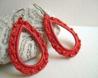 Orange Drop Dangle Earrings - Crochet Bead earrings - Summer lace fashion - Lace Earrings - handmade crochet earrings