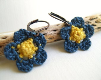 Blue and Yellow Primrose Earrings - Crochet Flower earrings - Whimsy Fashion Unique - Mother's day gift - Cute Flower Earrings