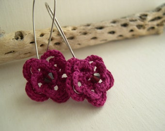 Fancy fuchsia flower earrings - Spring Fashion - Unique Flower Earrings - Mothers day gif idea - Feminine earrings