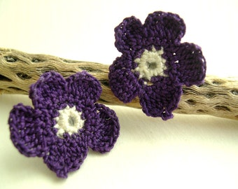 Violet earrings - Lace Fashion earrings - Spring Fashion Earrings -Mothers day gift - Elegant Crochet earrings - Chic lace earrings 2016
