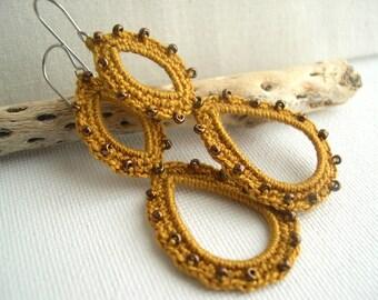Mustard lace earrings - Boho Earrings - Long dangle earrings - Mustard Long Earrings - Boho Chic - bridesmaid gift - crochet earrings
