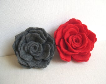 Grey or Red Rose Flower Pin - Red rose wedding hairpin - Red Bridesmaid accessory - Flowergirl clip - Felted Rose Hairpin - hair accessory