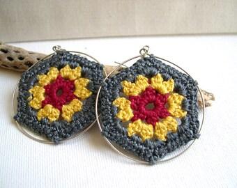 Granny hexagon Crochet Earrings - Big Hoop Earrings -  Gray Yellow Red earrings - Lace Style earrings - Colorful earrings - Girlfriend gift