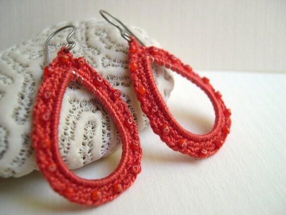 Orange Drop Dangle Earrings - Crocheted Bead earrings - Summer lace fashion - Lace Earrings - handmade crochet earrings