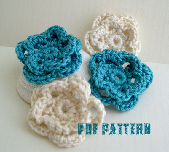 Fancy Flower PDF Pattern - easy crocheted flower pattern - Floral embellishment - Crochet Handmade - crochet flower pattern